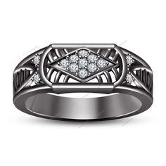 Black Gold FN 0.80CT Round Sim.Diamond 925 Silver Nine Stone Men's Spl Band Ring #aonejewels #NineStoneMensWeddingRing #EngagementWeddingAnniversaryGift