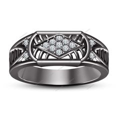 Black Gold FN 0.80CT Round Sim.Diamond 925 Silver Nine Stone Men's Spl Band Ring…