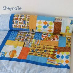 Modern Baby Quilt  baby boy quilt trucks and airplanes by Sheynale