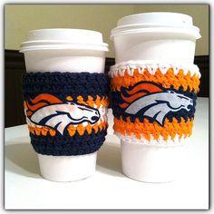 Denver Broncos Inspired Coffee Cozy, crochet coffee cozy,  Blue, white, orange Coffee Cozy, Broncos Coffee Warmer, football, cozy on Etsy, $8.00