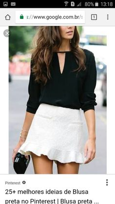 Street style black and white once upon a time blusas, moda e Casual Dresses, Casual Outfits, Fashion Outfits, Womens Fashion, Fashion Fashion, Fashion Sale, Paris Fashion, Fashion Clothes, Runway Fashion
