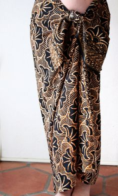 Black with Golden Brown Batik Sarong - Pareo - Swimsuit Cover Up - Women's or Men's Clothing Beach Wrap Skirt - Gingko Leaf Beach Sarong