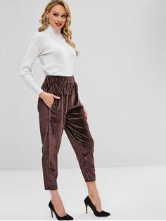 300b44dc5883 Coffee Spring Elastic Straight Solid Regular High Casual High Waist  Corduroy Pants with Pockets Corduroy Pants