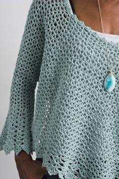 Crochet Blouse Sierra Swoncho - I Like Crochet Black Crochet Dress, Crochet Cardigan Pattern, Crochet Blouse, Crochet Shawl, Crochet Stitches, Knit Crochet, Diy Blouse, Pull Crochet, Crochet Summer Tops