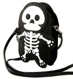 Cute Little Spooky Skeleton Black Bag Purse