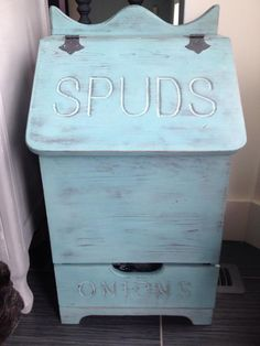 This potato bin was my first project! I fell in love with Provence! I was hooked on Annie Sloan chalk paint after this! I has always wanted a wooden potato bin like my moms:) my grandma gave me this one a few months ago and I love it!