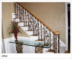 Upgraded from the old white wooden spindles to a custom designed Iron Baluster pattern that will enhance your homes elegance with timeless beauty. Description from mybestbuysblog.blogspot.com. I searched for this on bing.com/images
