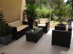 Pianosa : salon de jardin encastrable 10 places en résine tressée ...