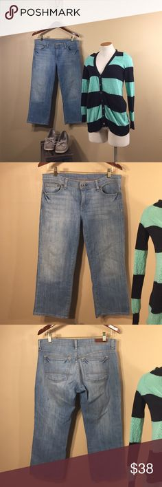"""Polo Ralph Lauren Crop Stretch Boyfriend Jean These light stone wash denim crop stretch jeans by Polo Ralph Lauren are a girl's Saturday essential go to.  Already broken in, but in excellent condition.  Tiny pinhole snag (discoloration on back left leg as pictured; through.  98% cotton, 2% spandex.  Approx 22"""" inseam Polo by Ralph Lauren Jeans Ankle & Cropped"""