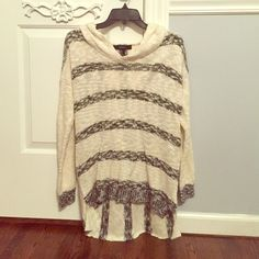 NWOT F21 sweater forever 21 striped sweater with hoodie. has never been worn... don't even know why there isn't tags on it. such a cute oversized and warm sweater for winter. Forever 21 Sweaters