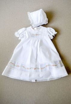 Beautiful short gown has delicate embroidered flowers over rows of organza detail.Fully lined. Please note: Christening dresses and accessories are final sale.Baby Dresses for Every Occasion ~ Baby Girl Dress Patterns, Baby Dress Design, Frock Design, Baby Girl Dresses, Baby Girls, Vintage Baby Dresses, Dress Girl, Baby Frocks Designs, Frocks For Girls