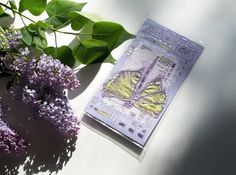 Light green dragonfly on lilac card  purple and green  by Vlada19, $10.00
