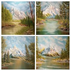 Mountain scapes in Oils by M. Kishek. . #oilpaintings #tree #trees #mountain #summit #mountains #valley #hiking #pine #grass #mountaintop #mont #nature #lovers #oilpainting #art #artists #visualart #mountaintops #spruce #rivers #canvas #landscape #mountainscape #lake #lac #pictureframe #oilcolors #easle Rivers, Landscape Paintings, Picture Frames, Grass, Hiking, Colours, Artists, Photo And Video, Mountains