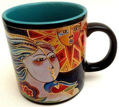 Laurel Burch Wine Things 2007 Mug Cup Coffee Tea Spirit Woman Fish Sun 16 oz. #LaurelBurch