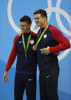 #RIO2016 Gold medalist Anthony Ervin of the United States celebrates with bronze medalist Nathan Adrian of United States during the medal ceremony in the...