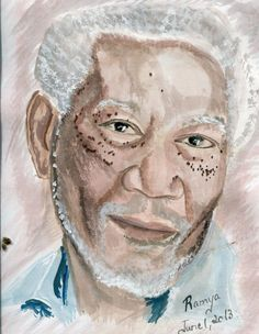 "Water Color Sketch of the ""Million Dollar Baby"" Fame – Morgan Freeman"