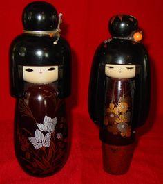 JAPANESE WOOD CARVED KOKESHI DOLLS
