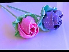 Botao de Rosa em Tecido- Passo a Passo -tutorial HOW TO MAKE ROLLED RIBBON ROSES- fabric flowers - YouTube