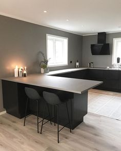 This is how minimalistic i want my home to be Open Plan Kitchen Living Room, Home Decor Kitchen, Home Kitchens, Modern Kitchen Design, Interior Design Kitchen, Living Room Interior, Sweet Home, House Design, Future