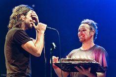 Jeff Ament presents Eddie Vedder with a Birthday Cake ~ Happy 47th!