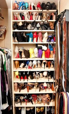 enviable shoe collection- this is also my dream shoe closet ; Closet Space, Shoe Closet, Closet Tour, Armoire, Dream Closets, Shoe Storage, Closet Organization, Organizing Shoes, Dressing Room