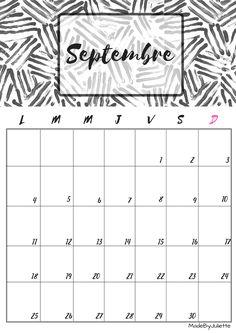 Calendrier - Septembre 2017 - Imprimes le calendrier pour customiser ton agenda! A VOIR : ma vidéo sur youtube