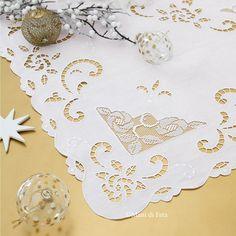 lino bianco disegnato per fare tovaglietta intaglio inserto filet