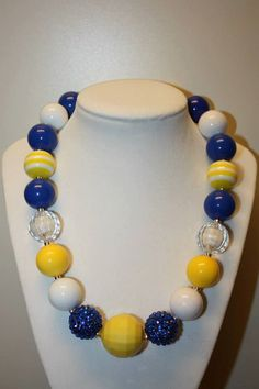 """19"""" Bubble Gum Bead Necklace- Yellow, White and Blue"""