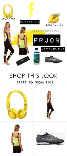 """#OOTD Standout in Prjon Activewear"" by fashionoutletny on Polyvore featuring Beats by Dr. Dre, NIKE, yogaoutfit and athleisure"