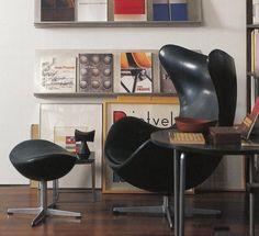 Black Leather Egg Chair & Stool - Arne Jacobsen