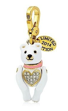 Juicy Couture LTD White Teddy Bear Pave Heart Charm 2014