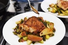 Single-Skillet Chicken Thighs with Bacon, Brussels Sprouts, and Easy Apple Jus
