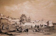 Algérie-  PORTE BAB AZZOUN, Alger 1830 : lithographie de Genet d'après un dessin de Bayot. 1843,