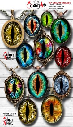 Creature Eyes Digital Collage Sheets Printable Download Pendants Cabochons Crafts Scrapbooking 30x40mm 22x30mm 18x25mm 13x18mm Ovals JC-090O Resin Crafts, Resin Art, Paper Crafts, Rock Crafts, Fabric Dolls, Paper Dolls, Rag Dolls, Polymer Clay Jewelry, Resin Jewelry