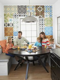 This chef uses her Cuban influence in more than just her cooking--in her kitchen nook too. Check out the pattern wall tiles #hgtvmagazine http://www.hgtv.com/kitchens/a-kitchen-with-personality/pictures/page-3.html?soc=pinterest