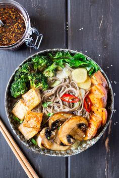 vegan ramen with grilled vegetables and tofu portion