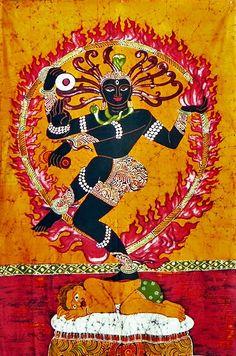 Shiva Nataraja - The Lord of the Dance - Batik Painting, India Indian Folk Art, Indian Artwork, Om Namah Shivaya, Hindu Art, Shiva Hindu, Online Painting, India Painting, Hindu Deities, Hinduism