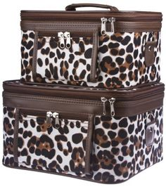 Two Animal Print Train Cases Cosmetic Makeup - Brown Large Patch by Private Label. $32.75. Material : Canvas. Color: Brown White Black. Mirrors inside each train case. Adjustable Shoulder Strap Included. Size : Large (11 x 9 x 7 in.) Small (9.5 x 7.5 x 5.5 in.). Complete with detachable and adjustable shoulder straps, interior mirrors, and outside zipper pockets for added convenience, this two piece train case is sure to please! Each solid, stand-alone case is ...