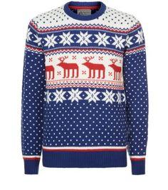 ada4a259d84 Blue White and Red Reindeer Fairisle Christmas Jumper