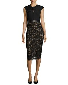 Lace+&+Jersey+Cocktail+Sheath+Dress,+Black+by+Michael+Kors+Collection+at+Bergdorf+Goodman.