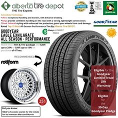 Goodyear EAGLE EXHILARATE All Season Performance Tire 225/45ZR19 XL 96W Rotiform Wheels Goodyear Eagle, Service Map, Performance Tyres, Wheels, Seasons, Seasons Of The Year