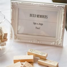 Conni and Trevor got guests to sign jenga pieces as a unique way of leaving mementos #hitchedrealwedding