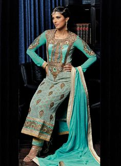 Georgette Sea Green Embroidered, Lace and Stone Pakistani Suit