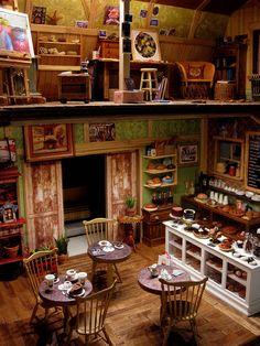 Amy looks closer: Dollhouse (Amy's Old Blue Barn Cafe and Studio. Vitrine Miniature, Miniature Rooms, Miniature Houses, Miniature Furniture, Dollhouse Furniture, Dollhouse Interiors, Kitchen Furniture, Diy Fimo, Crea Fimo