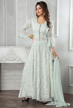 At Nikvik, we have a #huge #collection of the #Readymade #Salwar Kameez suits in a variety of styles.  #Nikvik is the #bestseller of Readymade Salwar #Kameez #suit in #USA #AUSTRALIA #CANADA #UAE #UK Lehenga Saree, Georgette Sarees, Indian Suits Online, Long Skirt And Top, Readymade Salwar Kameez, Wedding Salwar Kameez, Off White Color, White Fabrics, Indian Dresses