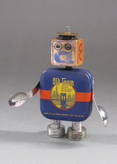 Found Object ROBOT SCULPTURE - Blockheaded Bob. $60.00, via Etsy.