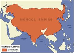 The Mongol Empire was the largest Empire in history, and came from Central Europe, all the way to Japan. Many well known emperors ruled here including some like Genghis Khan and Kublai Khan. Genghis Khan, Asian History, Alexander The Great, Old Maps, Historical Maps, Mongolia, World History, Asia Travel, Planer