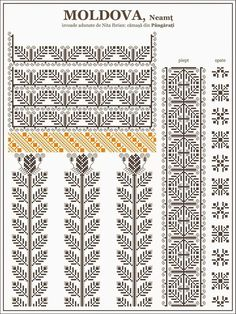 Ie Moldova Pângărați Folk Embroidery, Embroidery Patterns, Quilt Patterns, Learn Embroidery, Cross Stitch Borders, Cross Stitching, Cross Stitch Patterns, Blackwork, Mochila Crochet