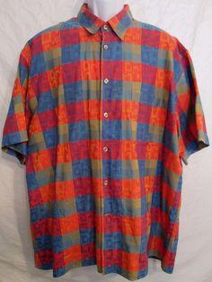#457 Maus & Hoffman Short Sleeve Men's Shirt 100% Cotton Made in Italy Size XL #MausHoffman #ButtonFront