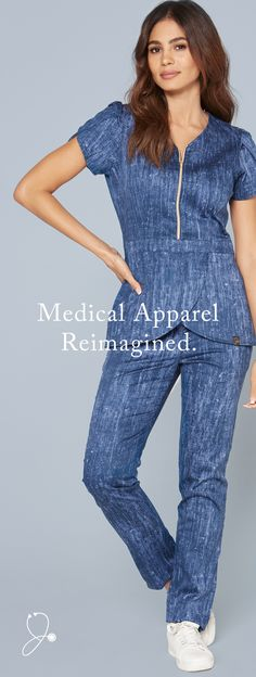 Your best scrubs yet. || A unique, denim-inspired print. Our premium antimicrobial-finished fabric, signature silhouettes, and gold details. The Denim Print is now available in limited quantities in our best-selling styles.